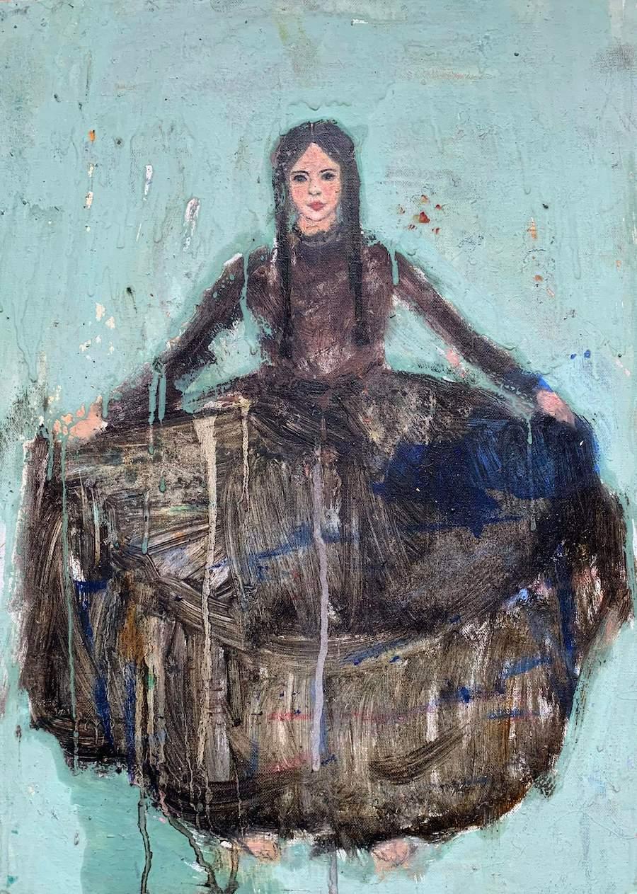 Corinne Tichadou - Robe noire (Technique mixte sur carton entoilé - 46 x 33 cm) 750 €