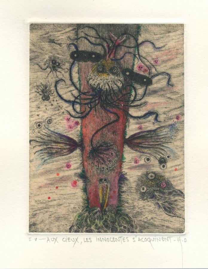 Didier Hamey - Aux Cieux, les innocentes s'acoquinent (Gravure à la pointe sèche réhaussée, E.U. - 32 x 32 cm) 320 €