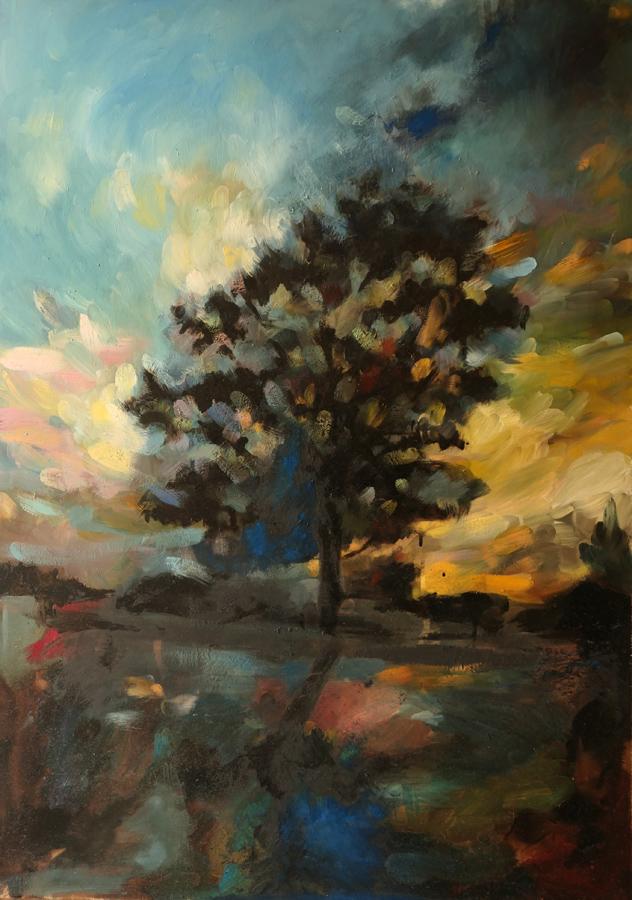 Emmanuelle Soulas - L'Arbre d'or (Huile, pigments et goudron sur toile - 99 x 70 cm) 2 200 €