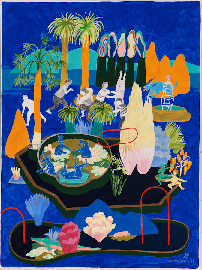 Hélène Duclos - Jardins disparus #1 (Mine graphite, gouache et crayon de couleur sur papier - 40 x 30 cm, encadré sous verre) 750 €